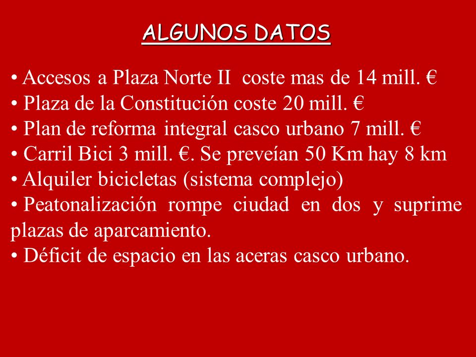 ALGUNOS DATOS Accesos a Plaza Norte II coste mas de 14 mill. Plaza de la Constitución coste 20 mill. Plan de reforma integral casco urbano 7 mill. Car