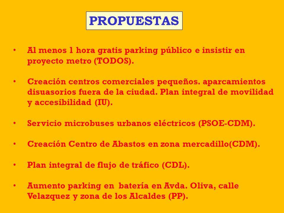 Al menos 1 hora gratis parking público e insistir en proyecto metro (TODOS). Creación centros comerciales pequeños. aparcamientos disuasorios fuera de