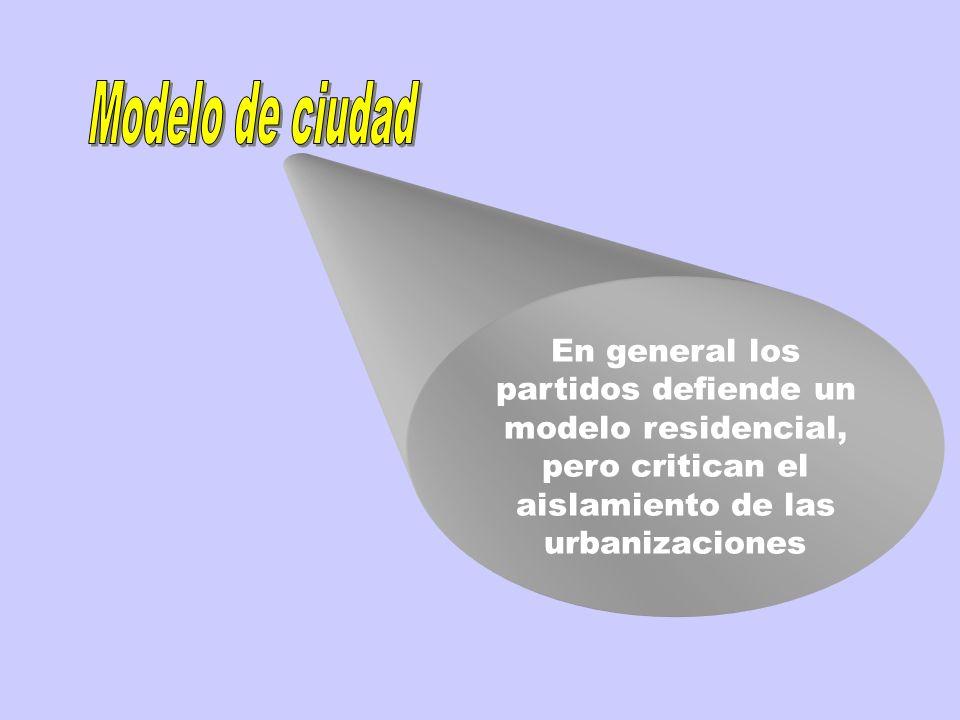 En general los partidos defiende un modelo residencial, pero critican el aislamiento de las urbanizaciones