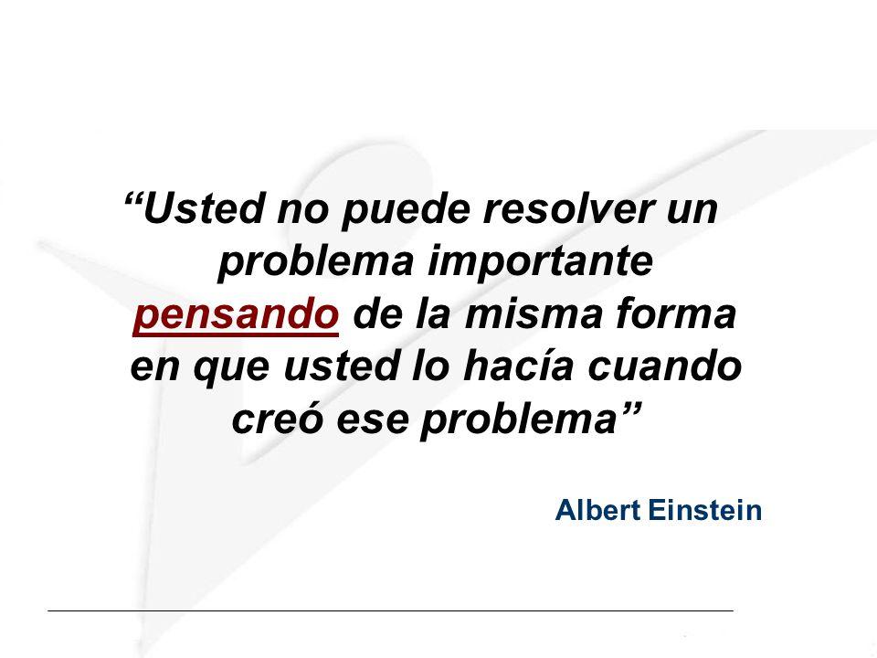 Usted no puede resolver un problema importante pensando de la misma forma en que usted lo hacía cuando creó ese problema Albert Einstein