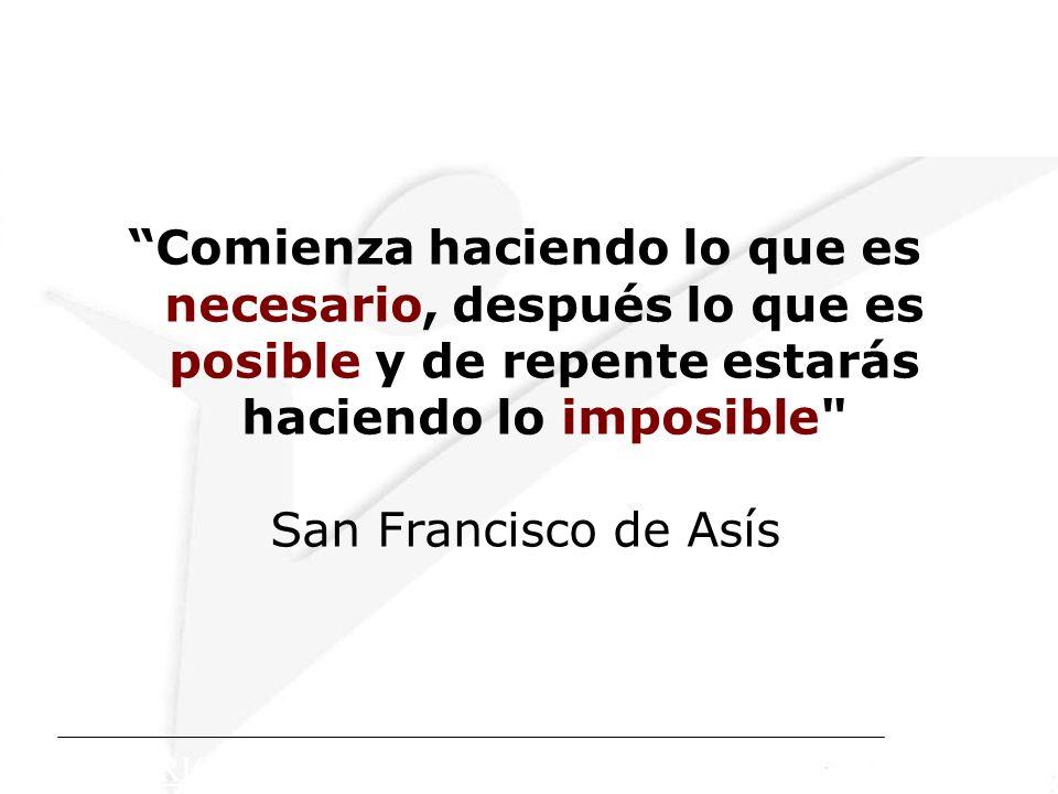 Comienza haciendo lo que es necesario, después lo que es posible y de repente estarás haciendo lo imposible San Francisco de Asís COPYRIGHT: Corporación Calidad