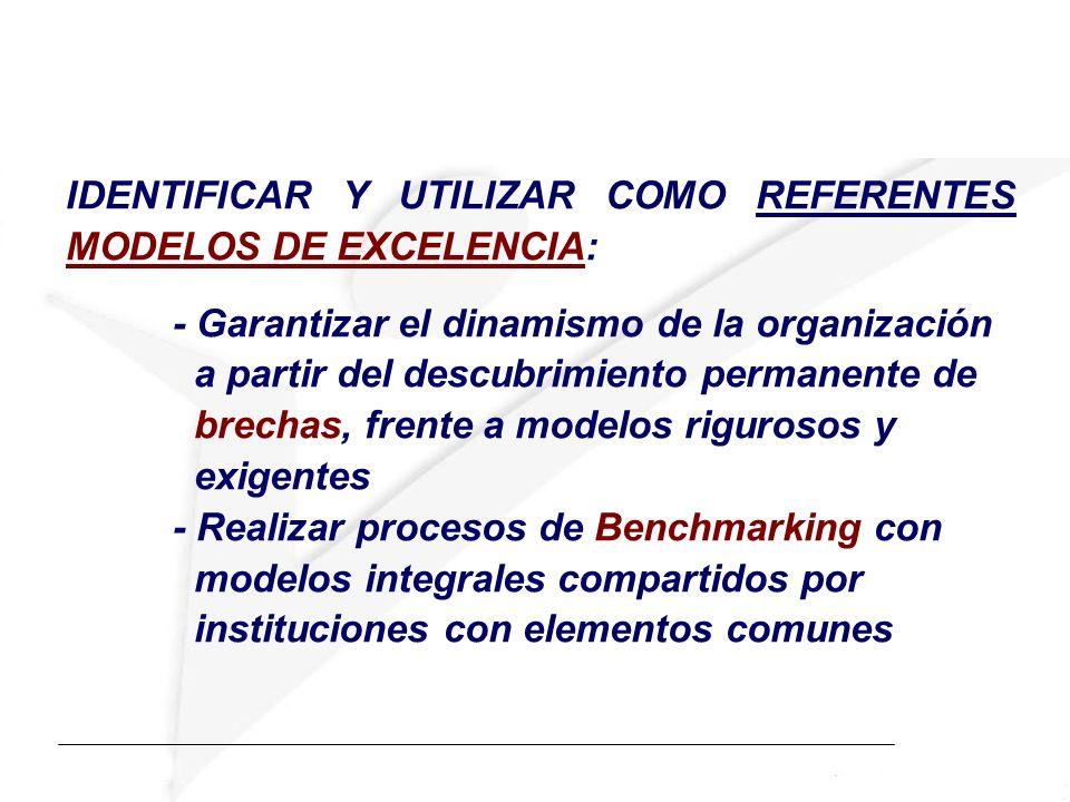 IDENTIFICAR Y UTILIZAR COMO REFERENTES MODELOS DE EXCELENCIA: - Garantizar el dinamismo de la organización a partir del descubrimiento permanente de brechas, frente a modelos rigurosos y exigentes - Realizar procesos de Benchmarking con modelos integrales compartidos por instituciones con elementos comunes