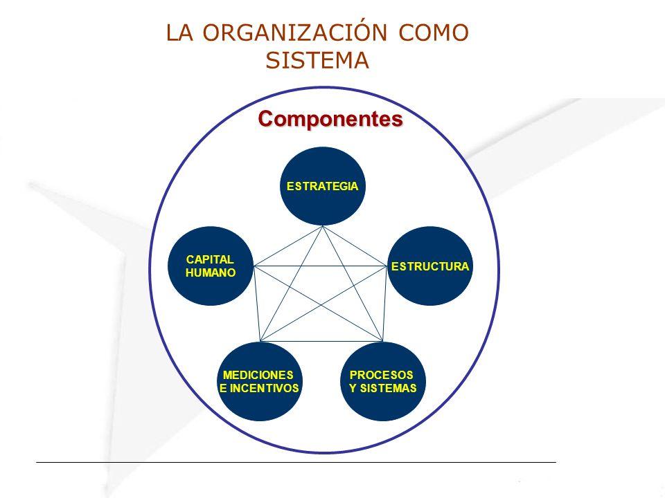 LA ORGANIZACIÓN COMO SISTEMA ESTRATEGIA CAPITAL HUMANO ESTRUCTURA MEDICIONES E INCENTIVOS PROCESOS Y SISTEMAS Componentes Componentes