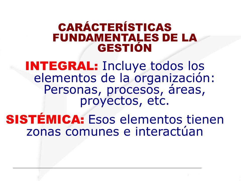 CARÁCTERÍSTICAS FUNDAMENTALES DE LA GESTIÓN INTEGRAL: Incluye todos los elementos de la organización: Personas, procesos, áreas, proyectos, etc.
