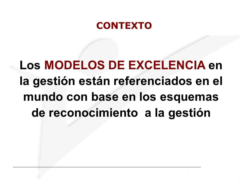 CONTEXTO Los MODELOS DE EXCELENCIA en la gestión están referenciados en el mundo con base en los esquemas de reconocimiento a la gestión