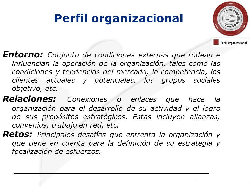 Entorno: Conjunto de condiciones externas que rodean e influencian la operación de la organización, tales como las condiciones y tendencias del mercado, la competencia, los clientes actuales y potenciales, los grupos sociales objetivo, etc.