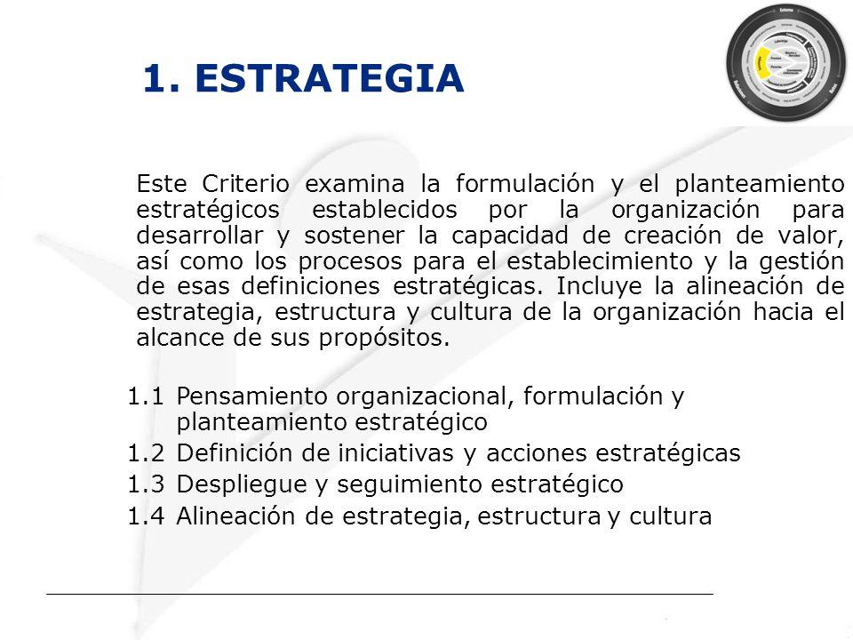 1. ESTRATEGIA Este Criterio examina la formulación y el planteamiento estratégicos establecidos por la organización para desarrollar y sostener la cap