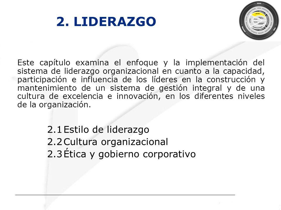 2. LIDERAZGO Este capítulo examina el enfoque y la implementación del sistema de liderazgo organizacional en cuanto a la capacidad, participación e in