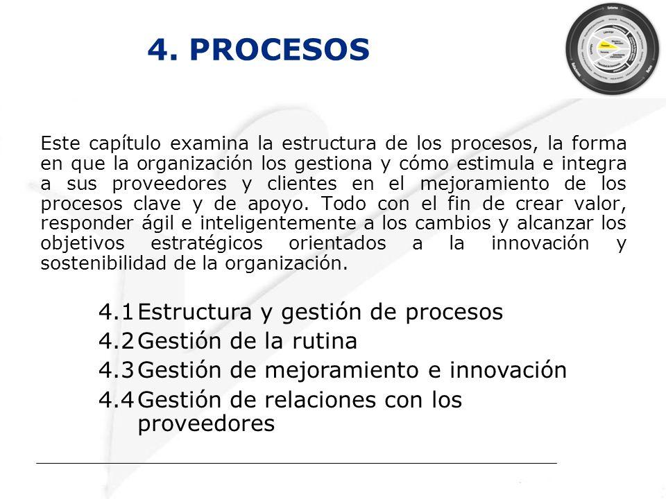 4. PROCESOS Este capítulo examina la estructura de los procesos, la forma en que la organización los gestiona y cómo estimula e integra a sus proveedo