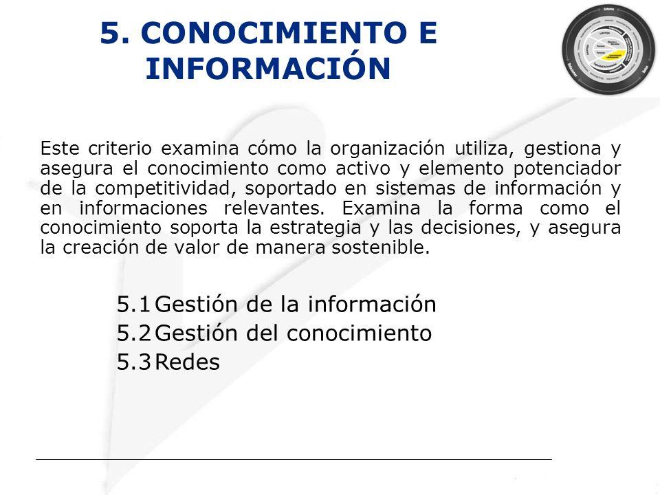 5. CONOCIMIENTO E INFORMACIÓN Este criterio examina cómo la organización utiliza, gestiona y asegura el conocimiento como activo y elemento potenciado
