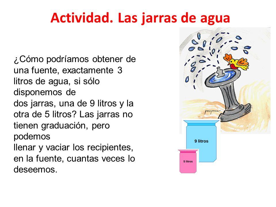 Actividad. Las jarras de agua ¿Cómo podríamos obtener de una fuente, exactamente 3 litros de agua, si sólo disponemos de dos jarras, una de 9 litros y