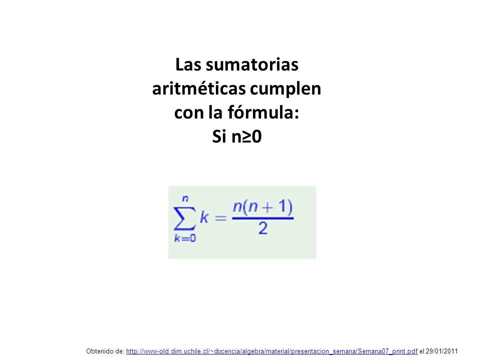 Las sumatorias aritméticas cumplen con la fórmula: Si n0 Obtenido de: http://www-old.dim.uchile.cl/~docencia/algebra/material/presentacion_semana/Sema