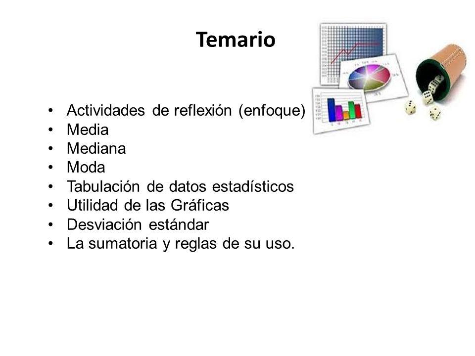 Temario Actividades de reflexión (enfoque) Media Mediana Moda Tabulación de datos estadísticos Utilidad de las Gráficas Desviación estándar La sumator