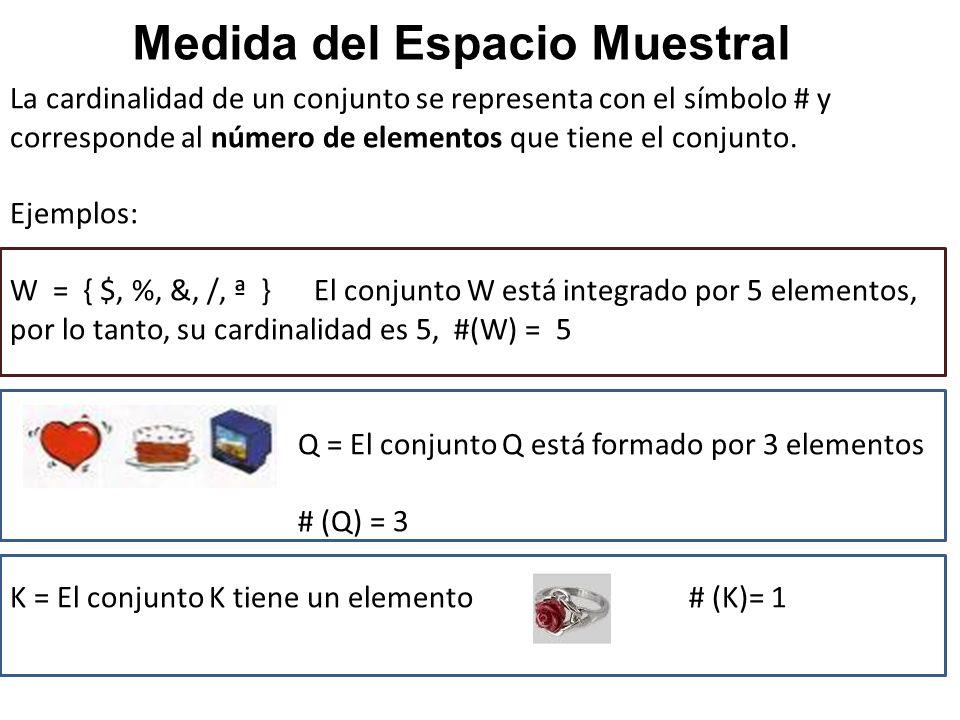 La cardinalidad de un conjunto se representa con el símbolo # y corresponde al número de elementos que tiene el conjunto. Ejemplos: W = { $, %, &, /,