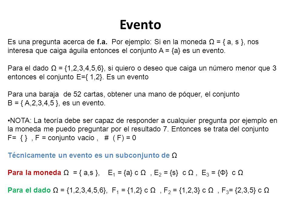 Evento Es una pregunta acerca de f.a. Por ejemplo: Si en la moneda = { a, s }, nos interesa que caiga águila entonces el conjunto A = {a} es un evento