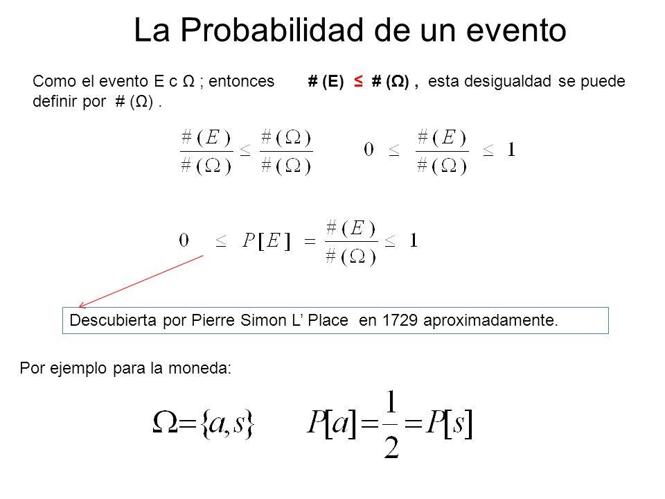 La Probabilidad de un evento Como el evento E c ; entonces # (E) # (), esta desigualdad se puede definir por # (). Por ejemplo para la moneda: Descubi