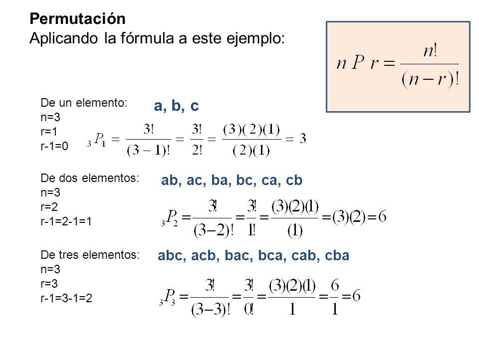 Permutación Aplicando la fórmula a este ejemplo: De un elemento: n=3 r=1 r-1=0 De dos elementos: n=3 r=2 r-1=2-1=1 De tres elementos: n=3 r=3 r-1=3-1=