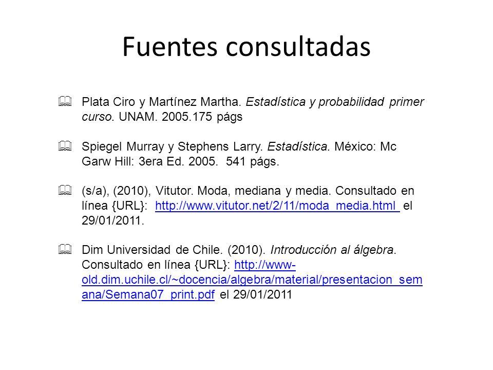 Fuentes consultadas Plata Ciro y Martínez Martha. Estadística y probabilidad primer curso. UNAM. 2005.175 págs Spiegel Murray y Stephens Larry. Estadí