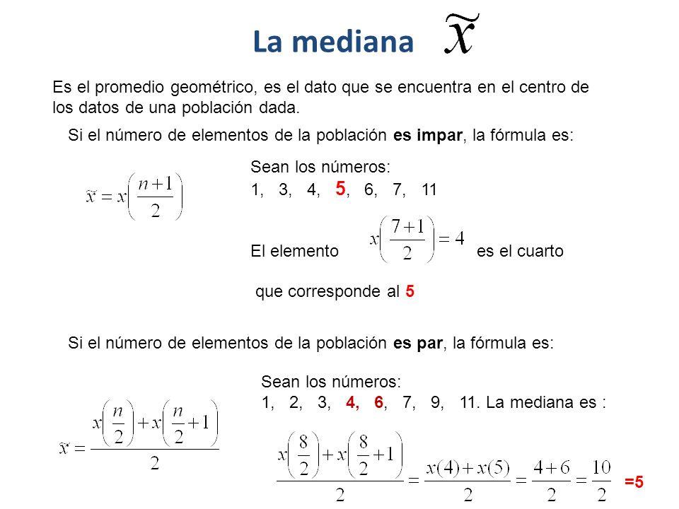 La mediana Es el promedio geométrico, es el dato que se encuentra en el centro de los datos de una población dada. Si el número de elementos de la pob