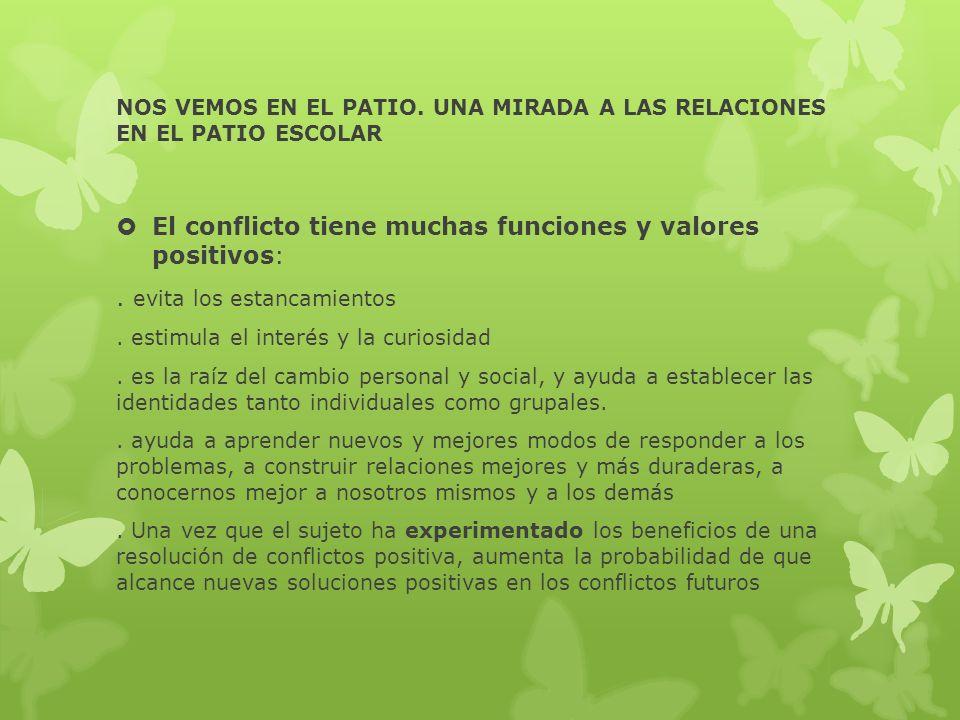 NOS VEMOS EN EL PATIO. UNA MIRADA A LAS RELACIONES EN EL PATIO ESCOLAR El conflicto tiene muchas funciones y valores positivos:. evita los estancamien