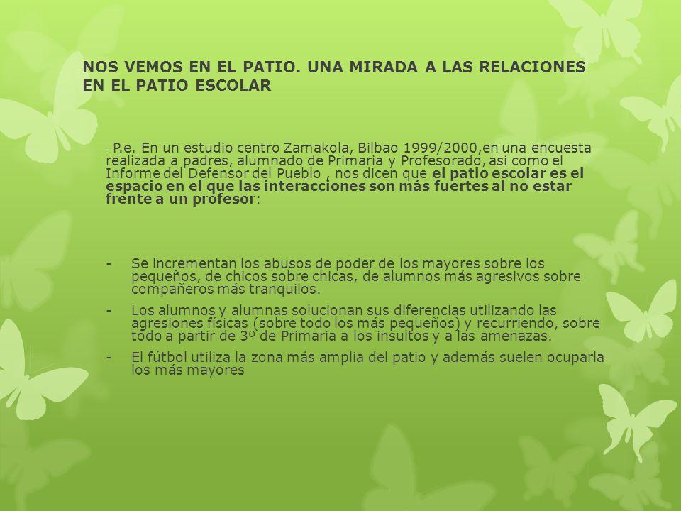 NOS VEMOS EN EL PATIO. UNA MIRADA A LAS RELACIONES EN EL PATIO ESCOLAR - P.e. En un estudio centro Zamakola, Bilbao 1999/2000,en una encuesta realizad