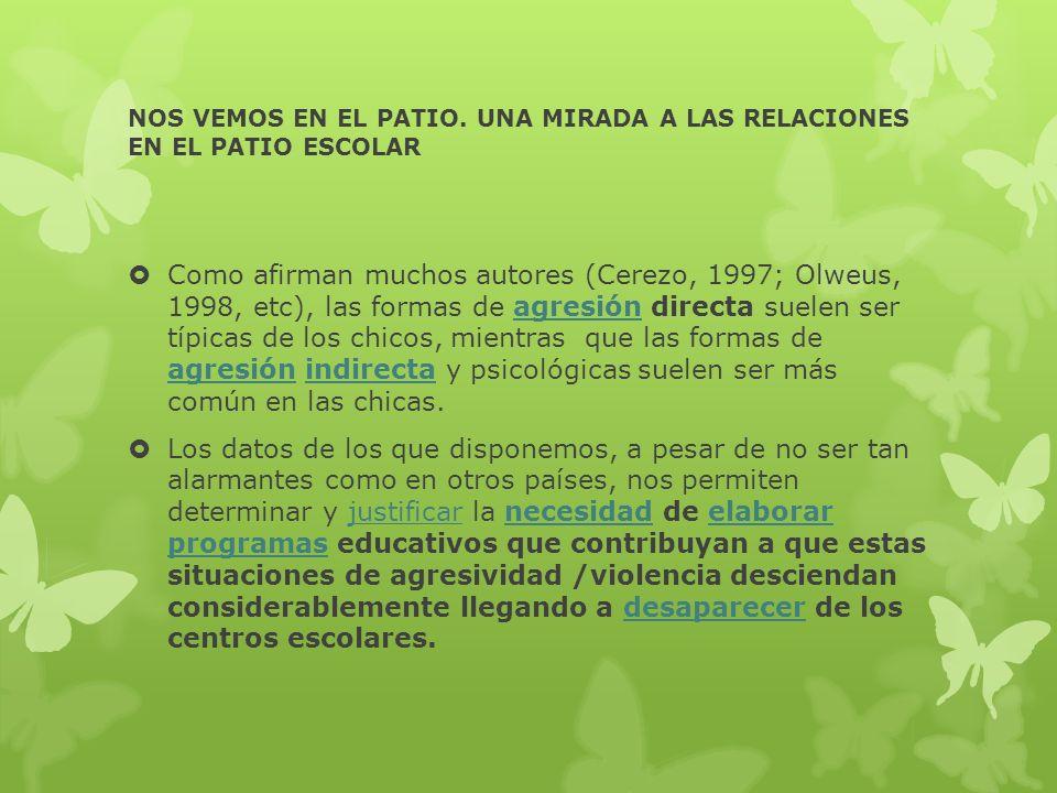 NOS VEMOS EN EL PATIO. UNA MIRADA A LAS RELACIONES EN EL PATIO ESCOLAR Como afirman muchos autores (Cerezo, 1997; Olweus, 1998, etc), las formas de ag