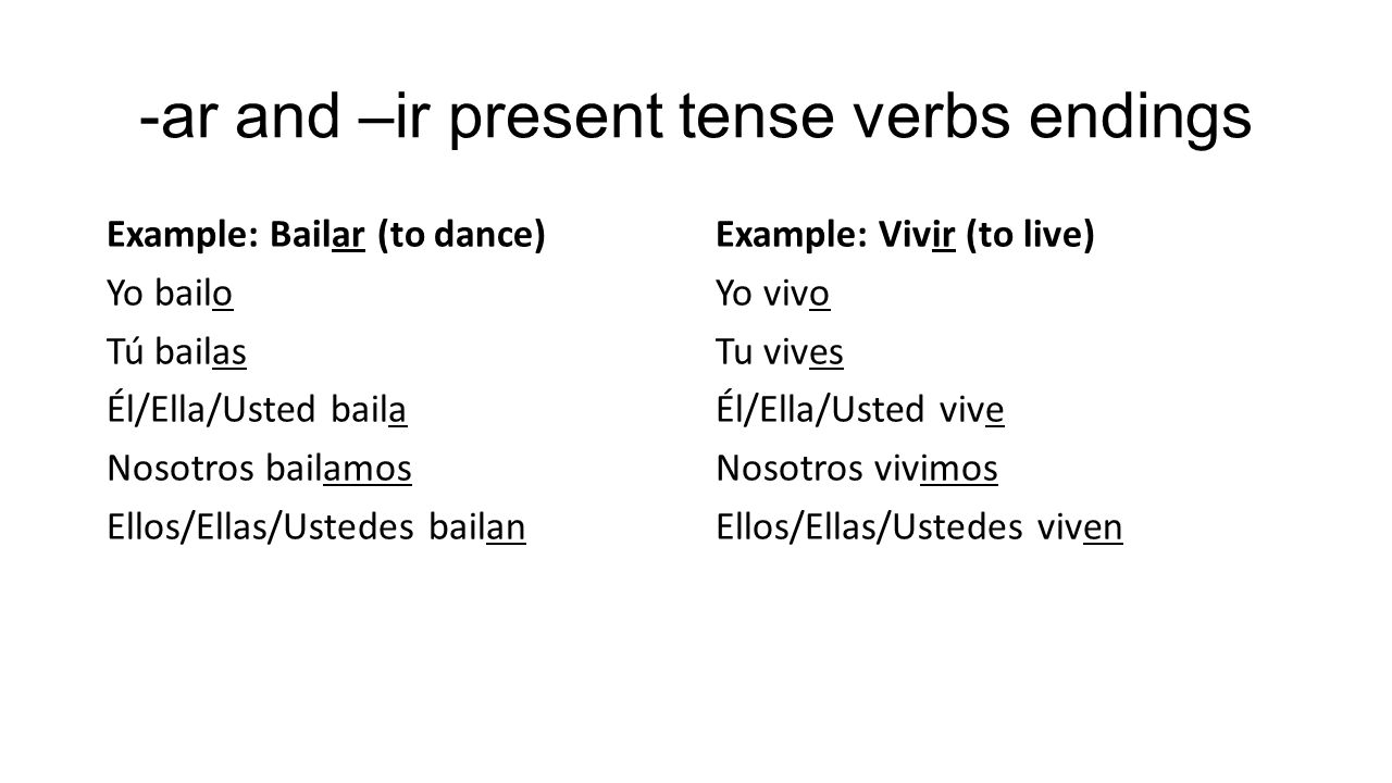 -ar and –ir present tense verbs endings Example: Bailar (to dance) Yo bailo Tú bailas Él/Ella/Usted baila Nosotros bailamos Ellos/Ellas/Ustedes bailan