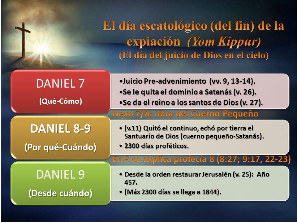 Juicio Pre-advenimiento (vv. 9, 13-14). Se le quita el dominio a Satanás (v. 26). Se da el reino a los santos de Dios (v. 27).Se da el reino a los san