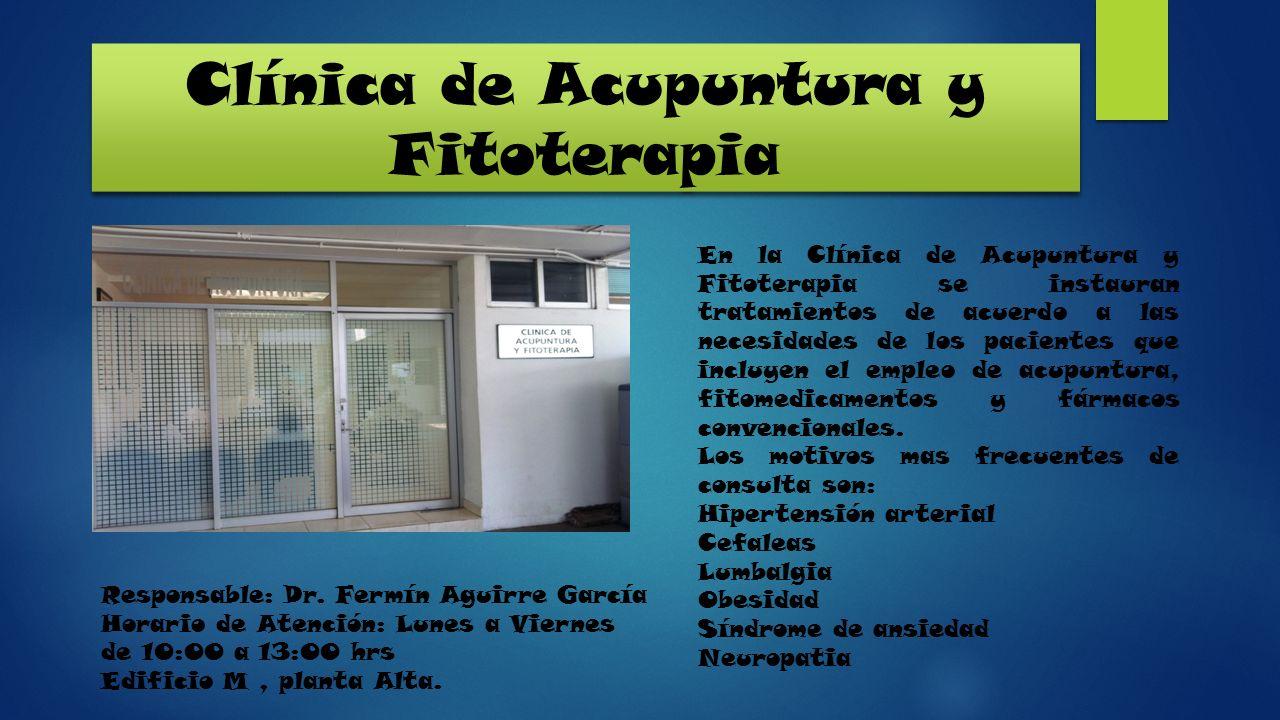 Clínica de Acupuntura y Fitoterapia En la Clínica de Acupuntura y Fitoterapia se instauran tratamientos de acuerdo a las necesidades de los pacientes