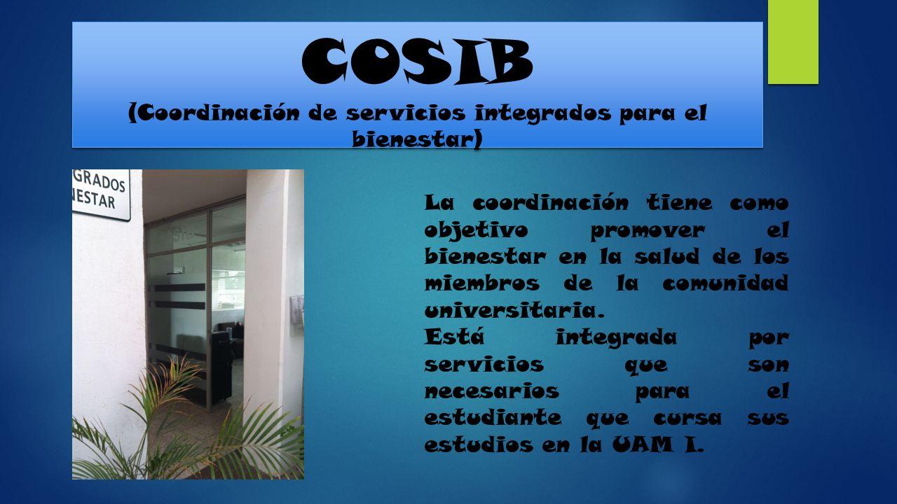 COSIB (Coordinación de servicios integrados para el bienestar) La coordinación tiene como objetivo promover el bienestar en la salud de los miembros d