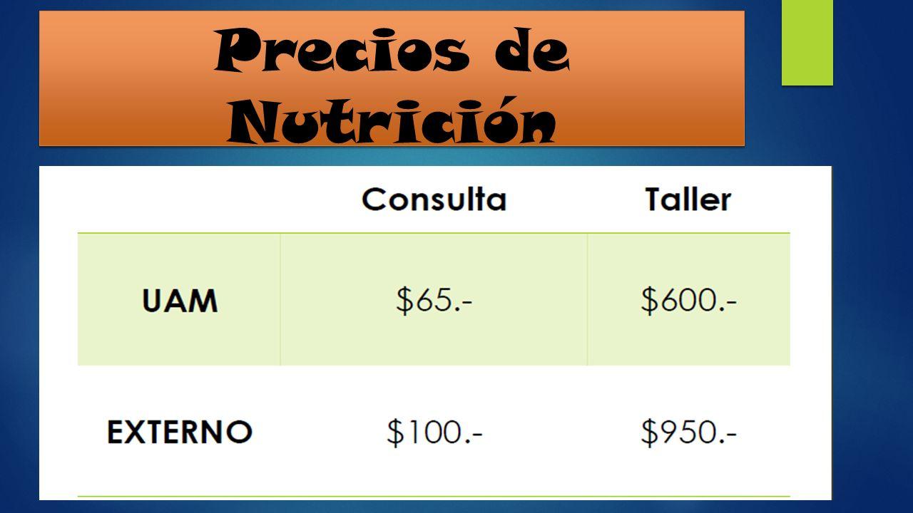 Precios de Nutrición