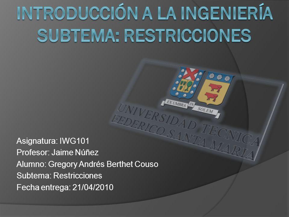 Asignatura: IWG101 Profesor: Jaime Núñez Alumno: Gregory Andrés Berthet Couso Subtema: Restricciones Fecha entrega: 21/04/2010