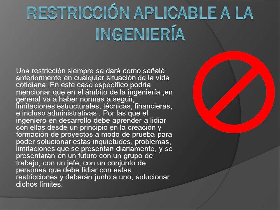 Una restricción siempre se dará como señalé anteriormente en cualquier situación de la vida cotidiana.