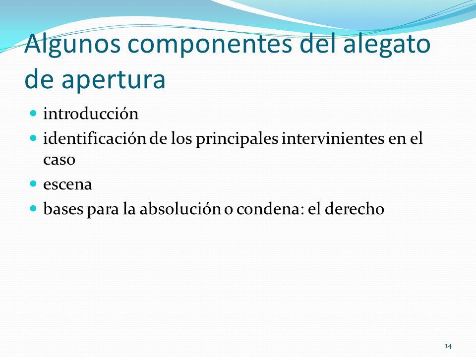 14 Algunos componentes del alegato de apertura introducción identificación de los principales intervinientes en el caso escena bases para la absolució