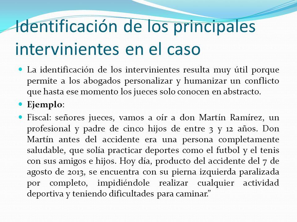 Identificación de los principales intervinientes en el caso La identificación de los intervinientes resulta muy útil porque permite a los abogados per