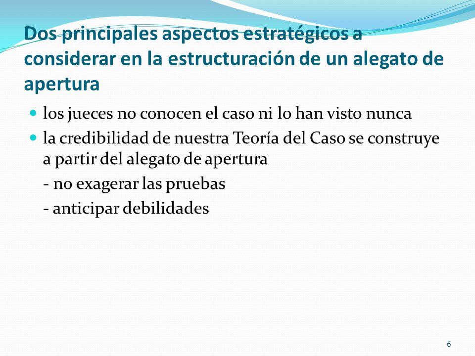 6 Dos principales aspectos estratégicos a considerar en la estructuración de un alegato de apertura los jueces no conocen el caso ni lo han visto nunc