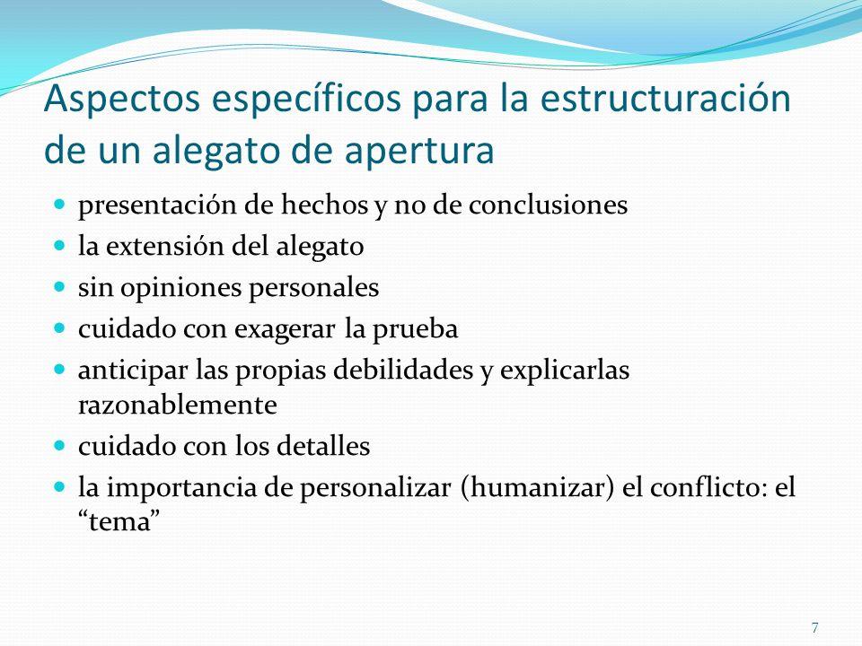 7 Aspectos específicos para la estructuración de un alegato de apertura presentación de hechos y no de conclusiones la extensión del alegato sin opini