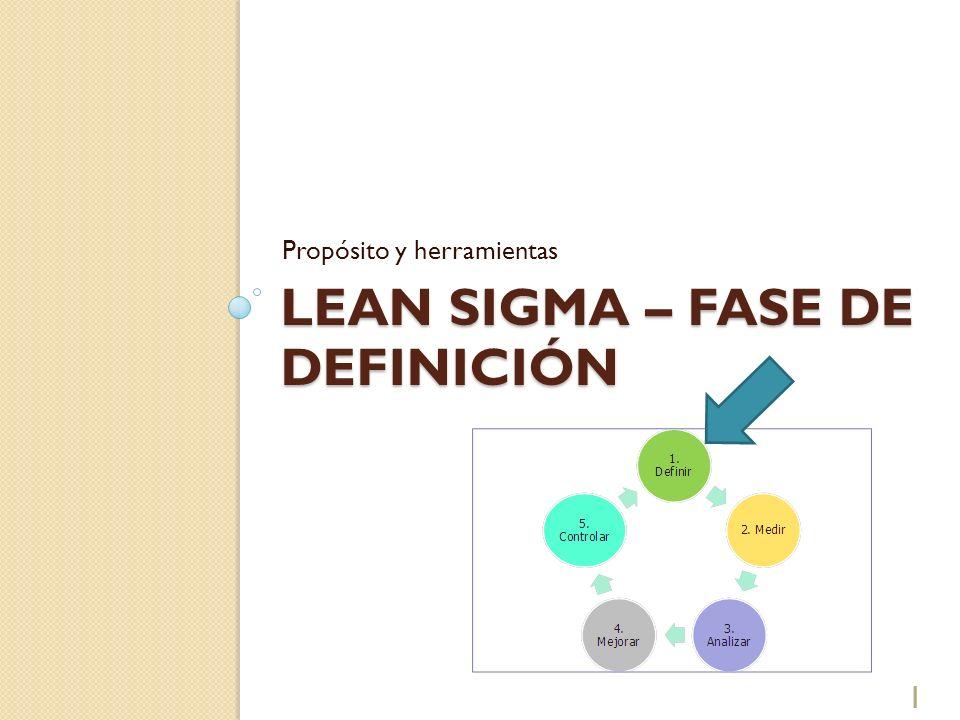 LEAN SIGMA – FASE DE DEFINICIÓN Propósito y herramientas 1
