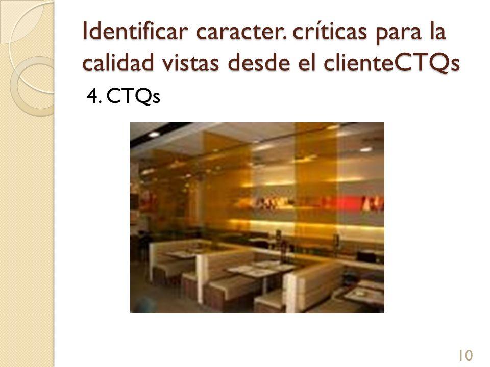 Identificar caracter. críticas para la calidad vistas desde el clienteCTQs 4. CTQs 10