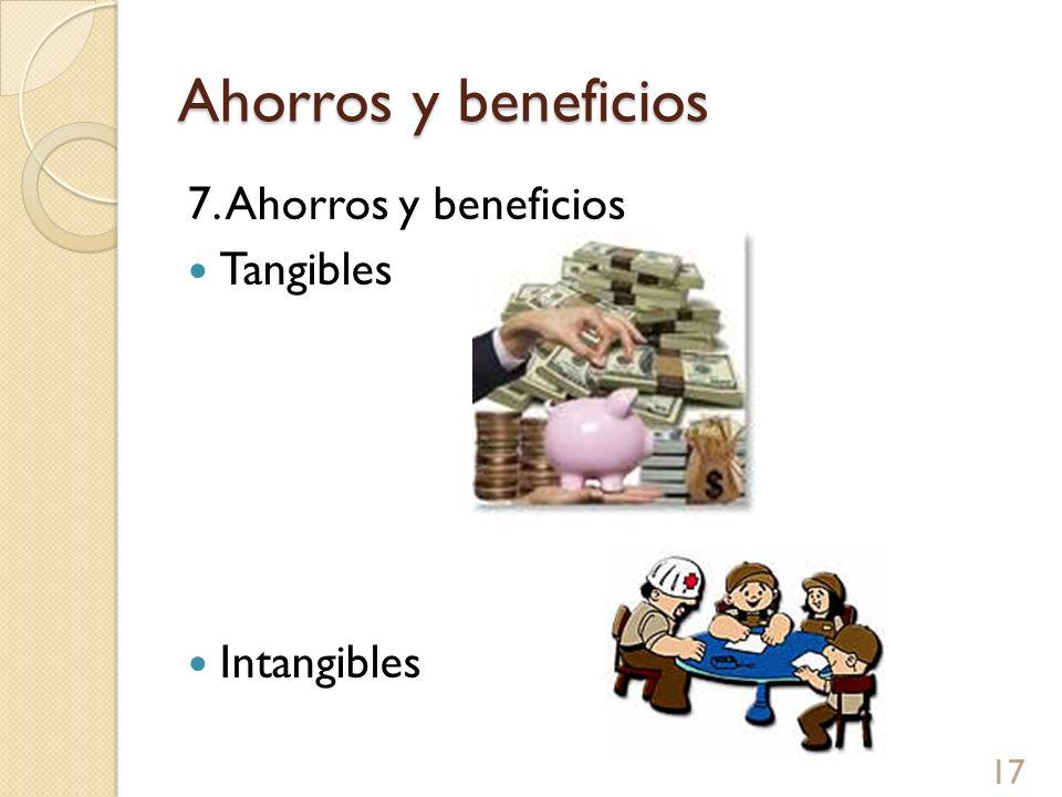 Ahorros y beneficios 7. Ahorros y beneficios Tangibles Intangibles 17