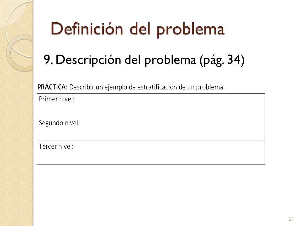 Definición del problema 9. Descripción del problema (pág. 34) 21