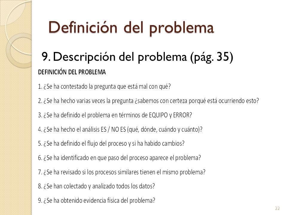 Definición del problema 9. Descripción del problema (pág. 35) 22