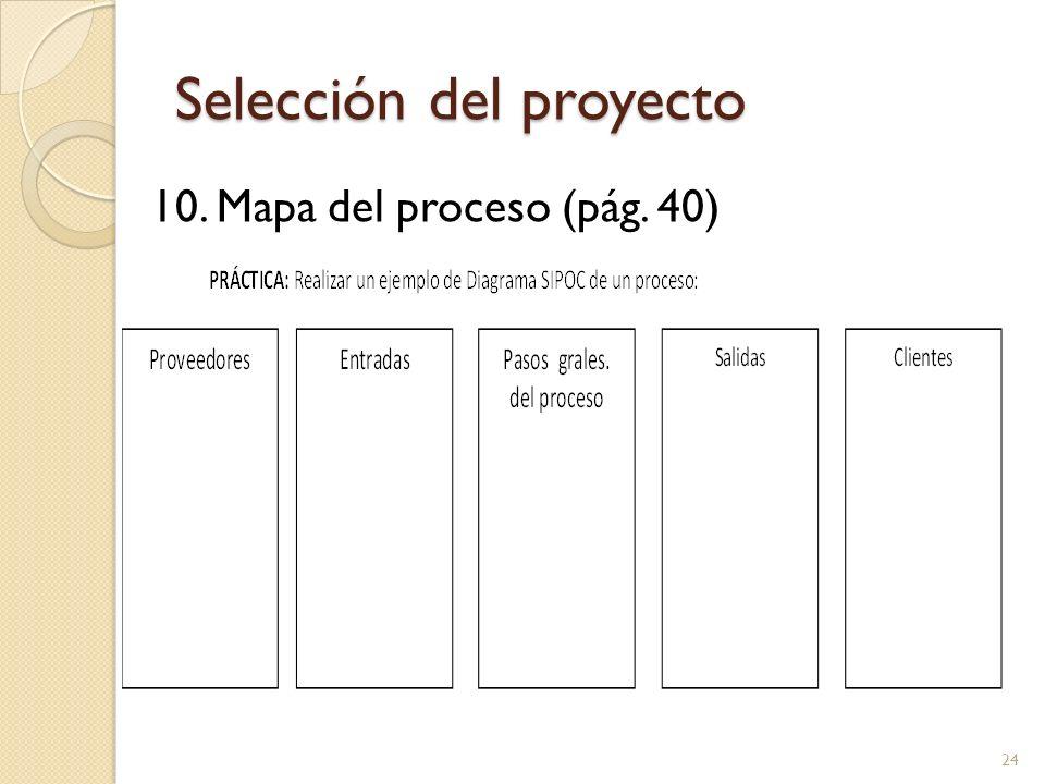 Selección del proyecto 10. Mapa del proceso (pág. 40) 24