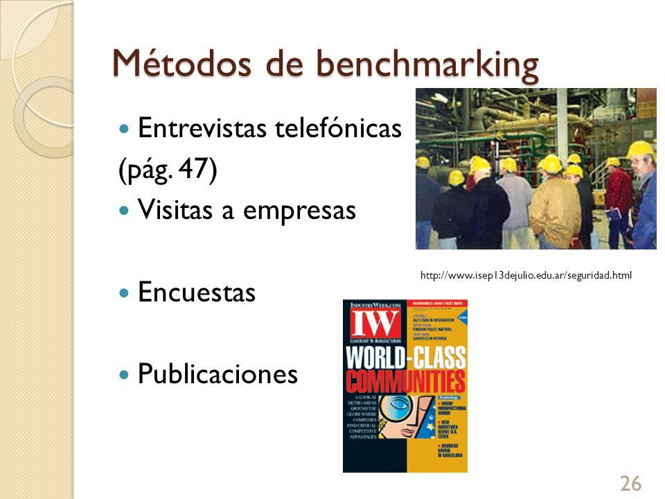 Métodos de benchmarking Entrevistas telefónicas (pág. 47) Visitas a empresas Encuestas Publicaciones http://www.isep13dejulio.edu.ar/seguridad.html 26