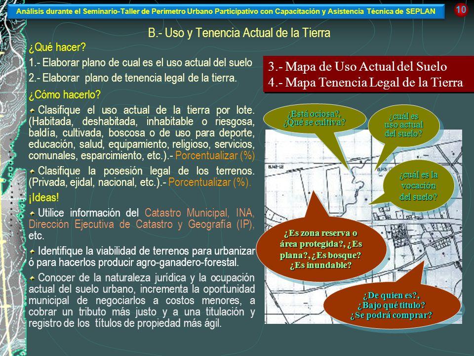 B.- Uso y Tenencia Actual de la Tierra ¿Qué hacer? 1.- Elaborar plano de cual es el uso actual del suelo 2.- Elaborar plano de tenencia legal de la ti