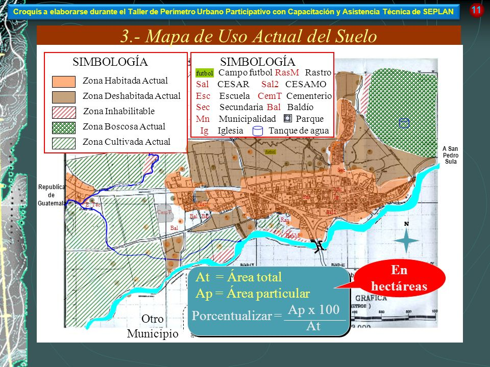 3.- Mapa de Uso Actual del Suelo A Republica de El Salvador A San Pedro Sula Republica de Guatemala 11 futbol Esc Ig Mn Sal Sec Sal2 CemT SIMBOLOGÍA Z