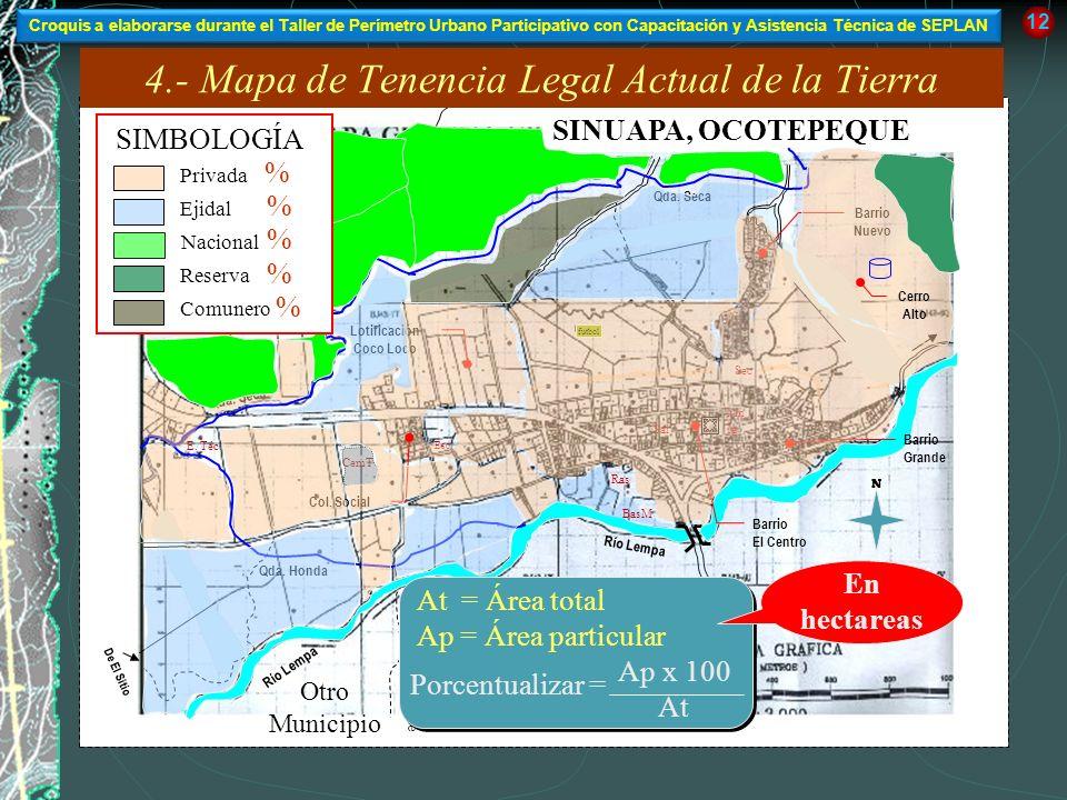 SINUAPA, OCOTEPEQUE Río Lempa De El Sitio Río Lempa Qda. Honda Qda. Seca Barrio Nuevo Barrio El Centro Barrio Grande Lotificación Coco Loco SIMBOLOGÍA