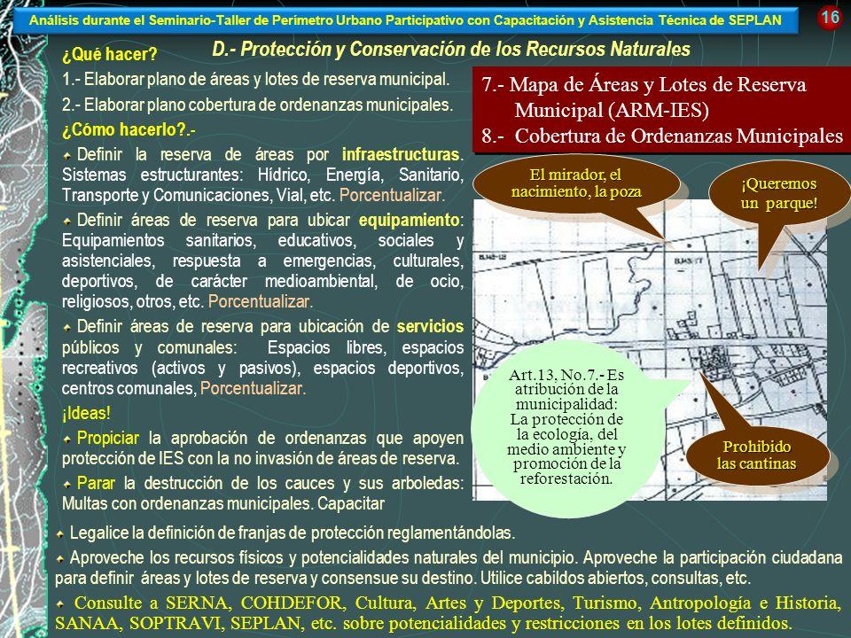 D.- Protección y Conservación de los Recursos Naturales ¿Qué hacer? 1.- Elaborar plano de áreas y lotes de reserva municipal. 2.- Elaborar plano cober