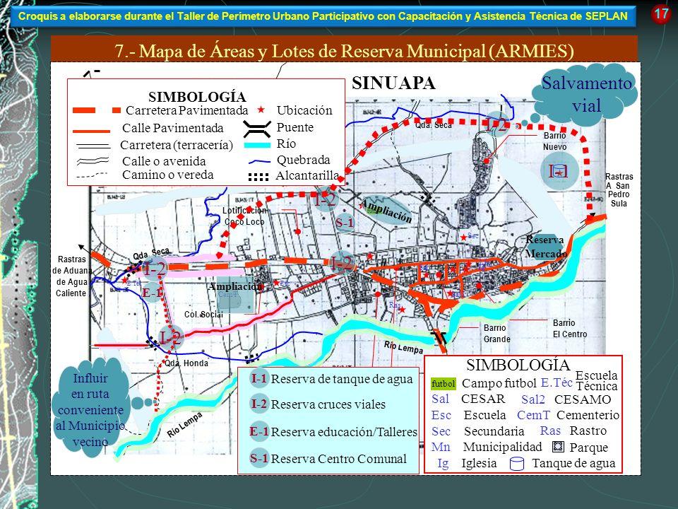 7.- Mapa de Áreas y Lotes de Reserva Municipal (ARMIES) A Nva. Ocotepeque, Aduana de El Poy y Republica de El Salvador 17 SINUAPA Río Lempa De El Siti