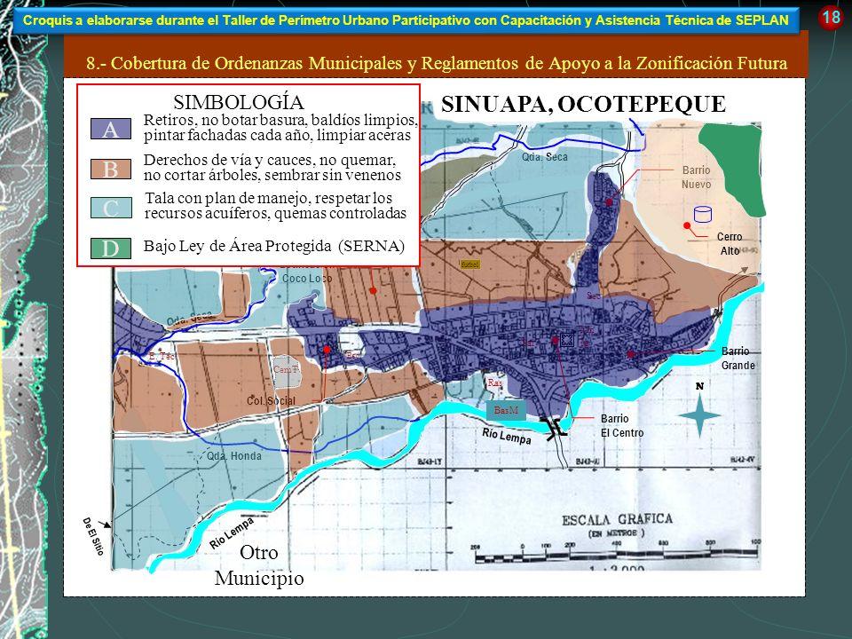 SINUAPA, OCOTEPEQUE Río Lempa De El Sitio De San José Río Lempa Qda. Honda Qda. Seca 8.- Cobertura de Ordenanzas Municipales y Reglamentos de Apoyo a